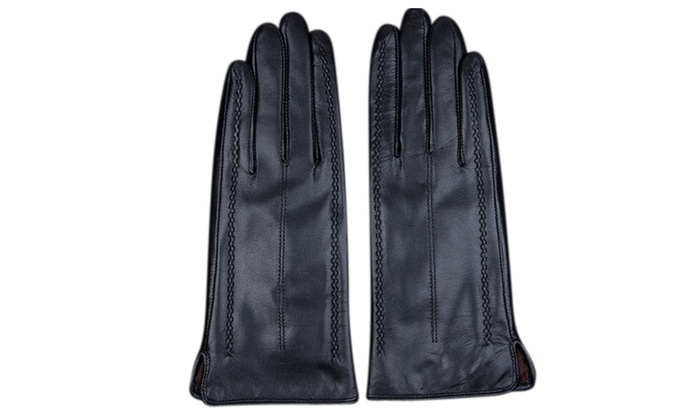 Women's Warmer Solid Color Stretch Lambskin Leather Gloves
