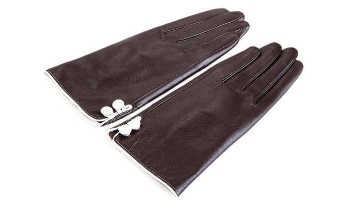 Women's Fashion Warm Lining Stretch Lambskin Leather Gloves