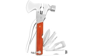 17-in-1 Hammer-Ax Stainless Steel Multi-Tool with Belt Pouch