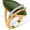Marquise-Shaped Jade and CZ Cabochon Ring 18k Gold-Plated