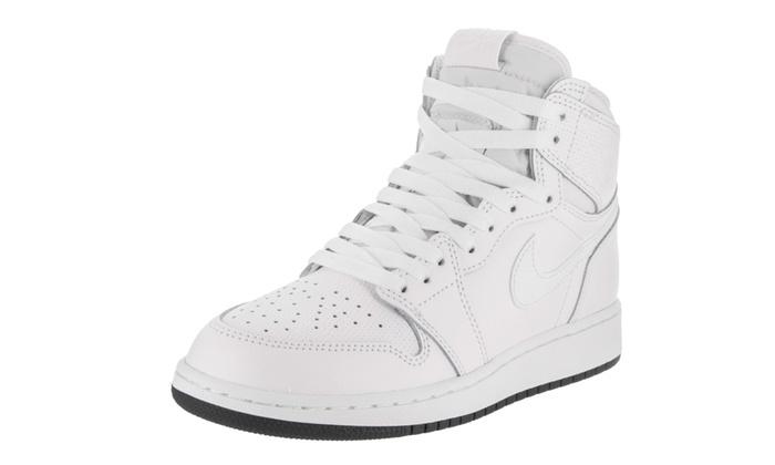 timeless design 3abca cf08e Nike Jordan Kids Air Jordan 1 Retro High OG Bg Basketball Shoe 4.5 Kids US  White Black White