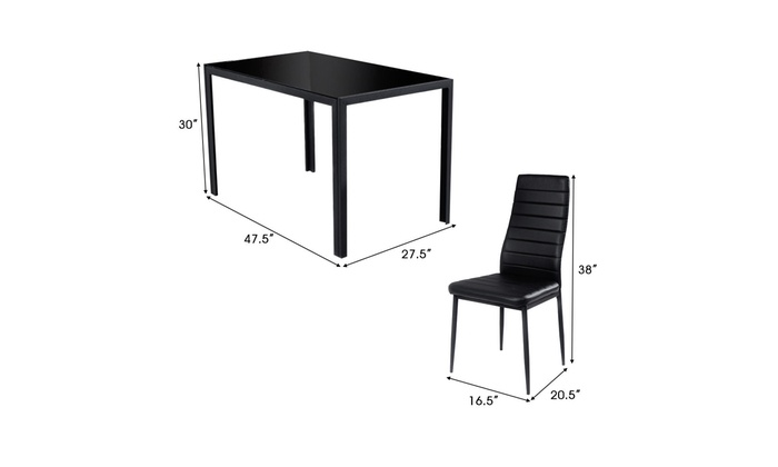 92251f5cfcc Costway 5 Piece Kitchen Dining Set Glass Metal Table and 4 Chairs ...