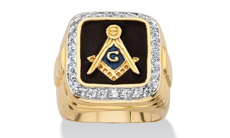 Men's .59 TCW Enamel 14k Gold-Plated Masonic Ring 5ed05b5b-50d6-4df4-ae75-1049177677d6