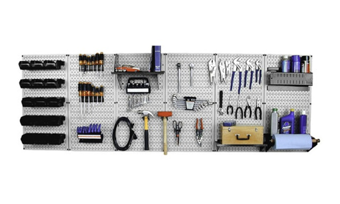 Wall Control 8ft Metal Pegboard Master Workbench Kit Toolboard white