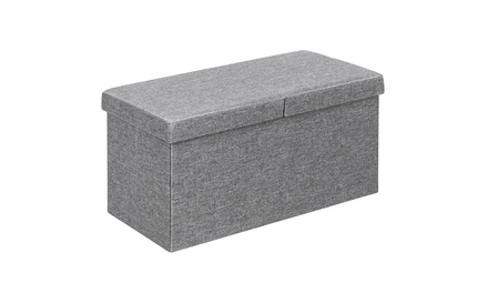 30'' Folding Storage Ottoman W/Lift Top Bed End Bench 80L Capacity