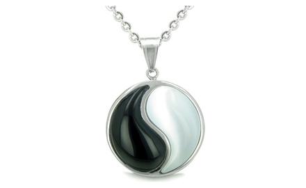 Amulet Forever Balance Yin Yang Magic Powers Medallion Double Lucky Black Onyx and White Cat's Eye Gems Pendant Necklace