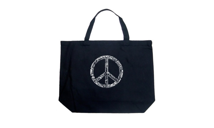 Large Tote Bag - THE WORD PEACE IN 77 LANGUAGES