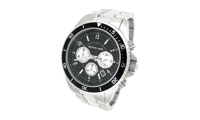 Mens michael kors madison silver black dial watch mk8174 for Michaels craft store watches
