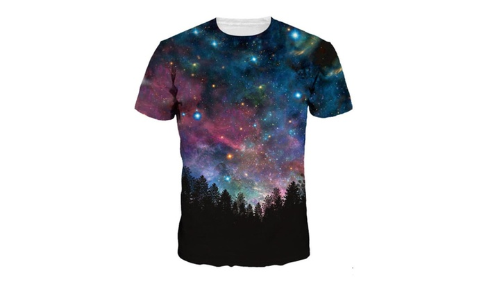 4PING Men's Blue Starry Sky Digital Printing Shirt Short-Sleeved Tee