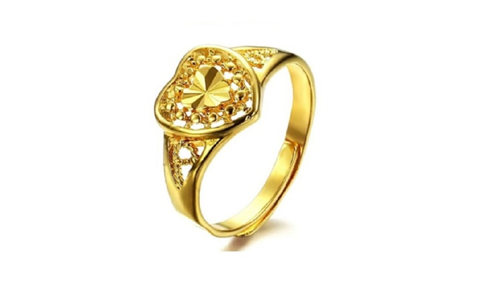 Gold Plated Opening Heart Shape Wedding Rings Women Resizable