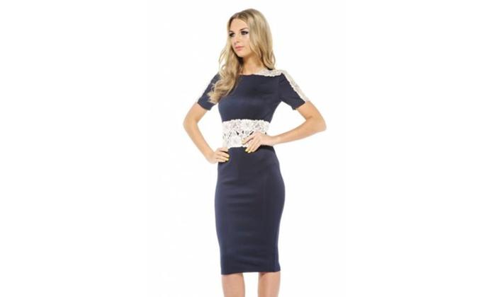 AX Paris Lace 3 4 Sleeve Scuba Midi Dress