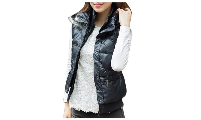 DPN Women's Winter Fashion Hood Stand Collar Sleeveless Down Coat