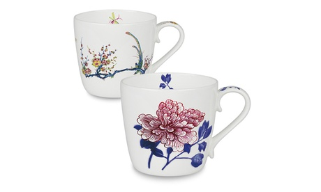 Set of 2 Bone China Mugs - Butler Collection Peony and Bird 68d80d9b-d3f5-45b5-9b75-a1207c01e718
