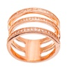 18K Rose Gold Sterling Silver CZ Triple Strand Ring