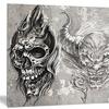 3 Demons Tattoo Sketch Portrait Metal Wall Art 28x12