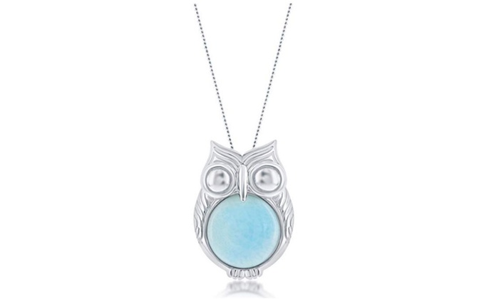 """Sterling Silver Created Blue Opal Owl on a Branch 18/"""" Pendant Necklace"""