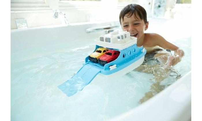 Green Toys Ferry Boat with Mini Cars Bathtub Toy Kids Bathtime