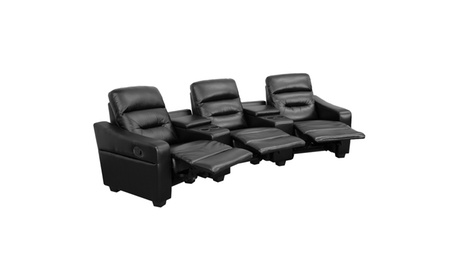 Futura Series 3-Seat Reclining Leather Theater Seating Unit with Cup Holders e9157c19-a460-4b6a-b059-0a99c7015ec8