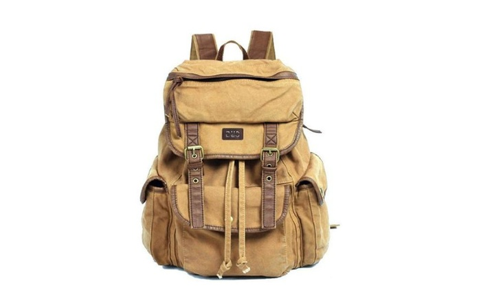 Serbags Vintage Canvas Leather Travel Rucksack Military Backpack ... f3a7fd449e