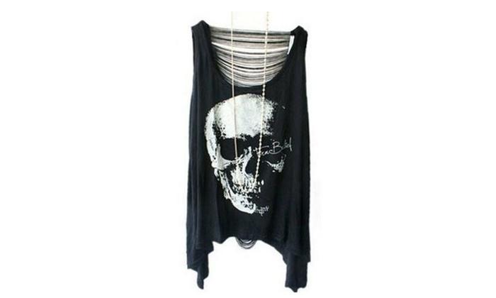 Black Skull Print Fringe T-shirt