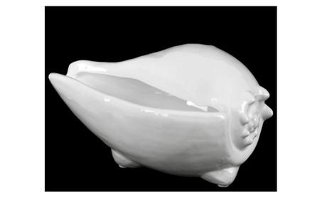 Ceramic Conch Seashell Sculpture Gloss Finish White 1bedc849-b27d-47ef-b889-242171582b7f
