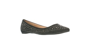 Lasonia Women's Faux Suede Rhinestone Studded Pointed Toe Flats, Black