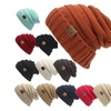 Winter Knitted Wool Cap Unisex Folds Casual CC labeling Beanies Hat