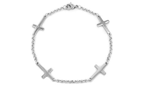 Stainless Steel Sideways Cross Charm Bracelet 3f72077d-4115-4da9-96ca-ee5bfdf5656a