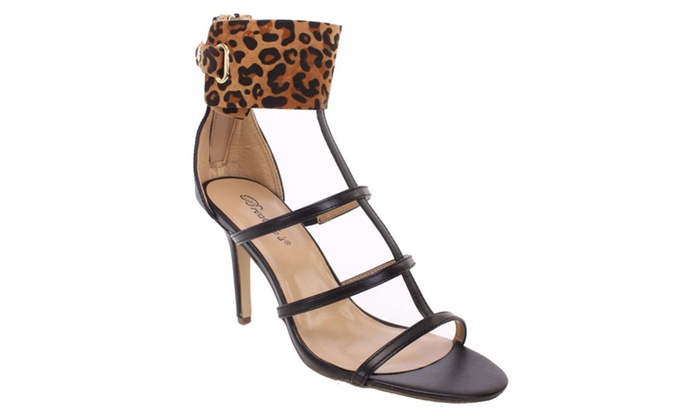 Leopard Caged Open Toe Strappy Sandal Heels Fourever Funky