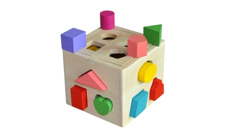 Wooden Shape Sorting box Cube Square Baby First Blocks Toy aeb060e1-42d1-4efe-95a3-7d050422181f