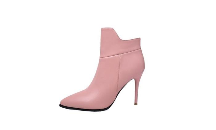 Women's Solid Casual Zip High Heels