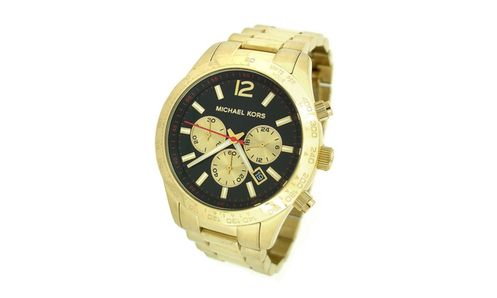 a3e237ff3afc New Men s Michael Kors Layton Gold Tone Black Dial Watch MK8246 ...