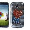 Insten Black Jean Hearts Snap-On Phone Cover Case Skin For galaxy S4