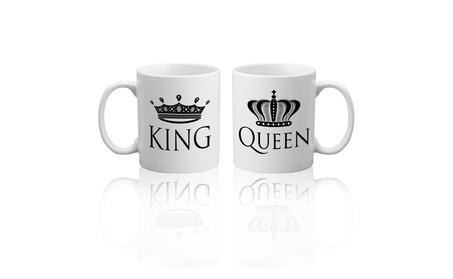 King Queen Ceramic Coffee Mugs Set Two Cups 98290ceb-9939-4b95-9f44-f032c2ff27e1