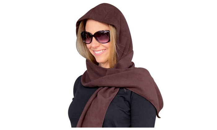 Evelots Warm Fleece Hooded Scarf, One Size Fits Most, Assorted Colors