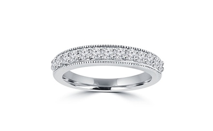 0.70 ct Ladies Round Cut Diamond Wedding Band Ring With Millgrain Edge