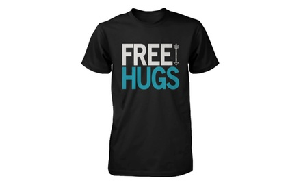 Men's Graphic Tees - Free Hugs - Black Cotton T-shirt - Gift for Him