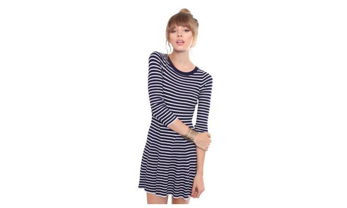 2805cc926d24ad Contemporary Striped Sweater Dress L24729DH
