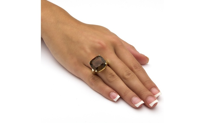 14k Gold-Plated Multi-Faceted Smoky Quartz Ring