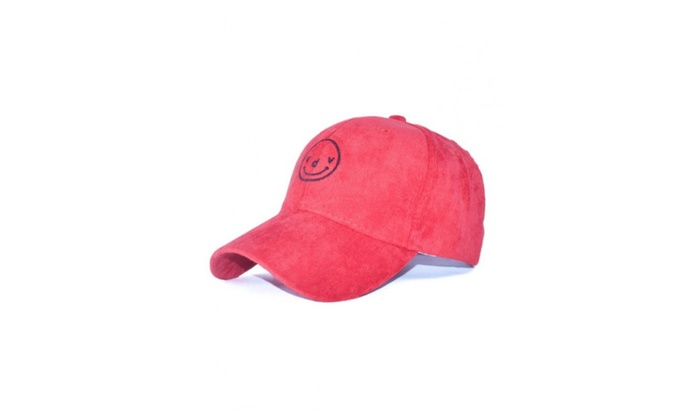 Corduroy Smiling Face Embroidery Baseball Hat