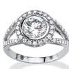 2.51 TCW CZ Ring In Platinum Over Sterling Silver