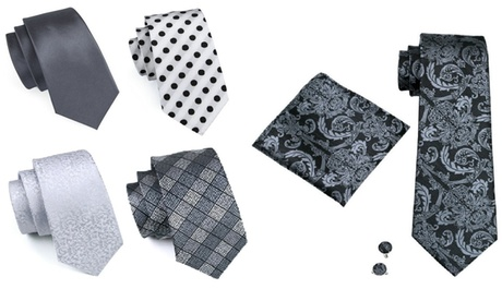 3 Piece Designer Silk Tie Set (Black & Silver Grey Shades)