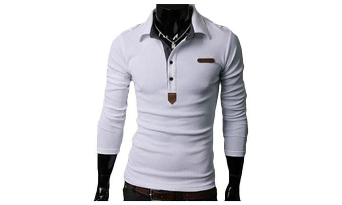 Men's Long Sleeve Zip Closure Casual Slim Fit T Shirt