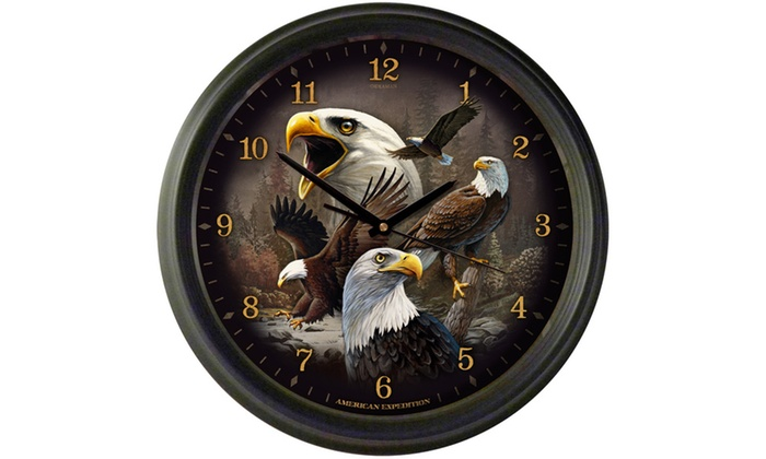 American Expedition 16 Quot Wall Clock Bald Eagle Collage