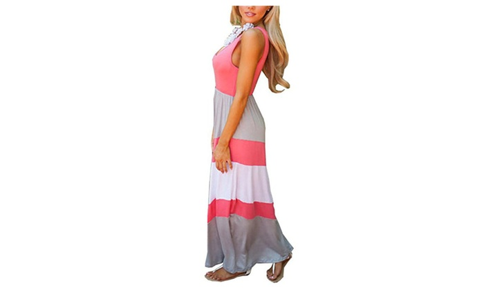 Women`s Boho Empire Chevron Tank Top Casual Maxi Long Dress