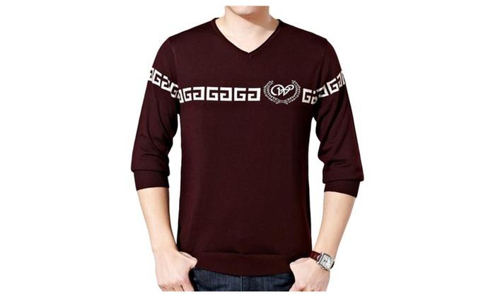 Men's Stylish V Neck Printed Long Sleeve Ribbed T Shirt