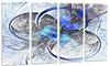 Symmetrical Blue Fractal Flower Metal Wall Art 48x28 4 Panels