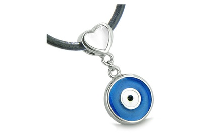 Amulet Evil Eye Reversible Double Lucky Hearts Charm Yin Yang Powers Pendant on Leather Cord Necklace