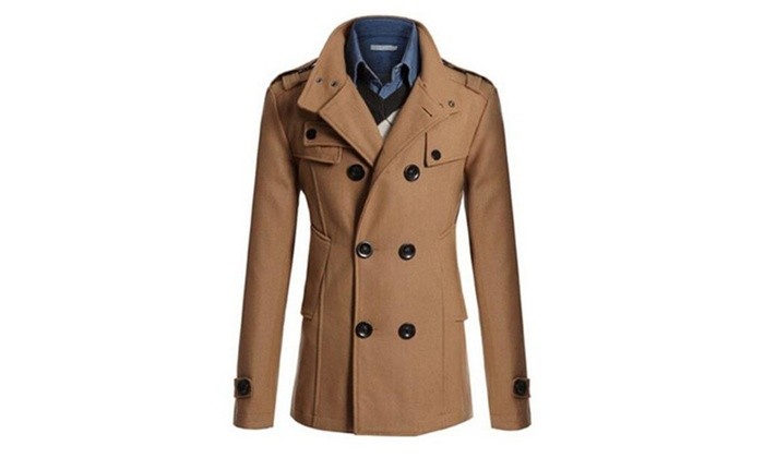 Mens Winter Double Breasted Long Woolen Trench Pea Coat Slim Fit