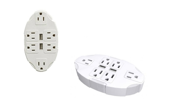 Electrical 6 Sockets 2 Usb Ports Outlet Plug Adapter